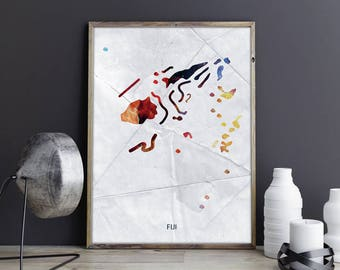 Fiji Artwork Fiji Wall Art Fiji Wall Decor Fiji Photo Fiji Print Fiji Poster Fiji Map Country Map Watercolor Map Country Map Print Country
