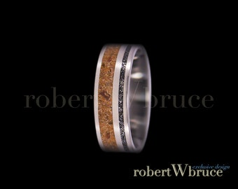 Velociraptor & Meteorite Titanium Ring Dinosaur Bone Groom's Wedding Band - Exclusive rWb Custom Design