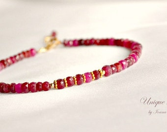 Gold ruby bracelet, stacking bracelet, July birthstone, red bracelet, ruby jewelry, Valentine's gift