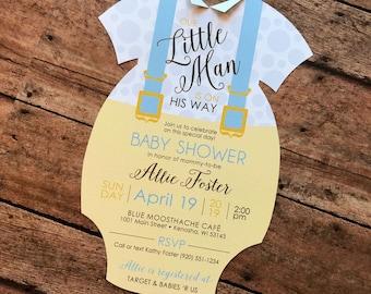 Little Man Baby Shower Invitation, Onesie Baby Shower Invite, Blue Suspenders Baby Shower Invitation, Baby Blue Polka Dot Shower Invite Set