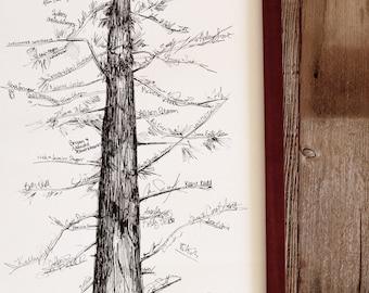 Wedding Guest Book Alternative, Signature Tree, unique guest book, pine tree, housewarming gift, fingerprint tree, rustic home