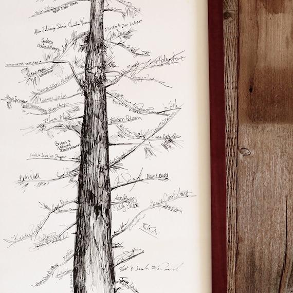 Guest Book Alternative Thumbprint Wedding Tree Fingerprint: Wedding Guest Book Alternative Signature Tree Unique Guest