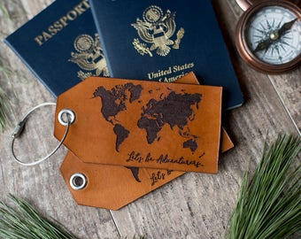 Custom luggage tags, Personalized leather luggage tag  | Let's Be Adventurers