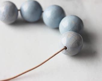 Handmade ceramic light blue pearls short strand necklace