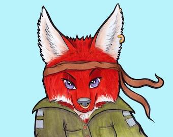 Fox Character Art Print | Commando | Military | Character Design | Sassy | Rouge | Illustration