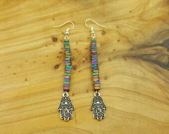 Rainbow Hematite Hamsa dangle earrings, Mercury Retrograde, Mercury Retrograde jewelry, Grounding jewelry, Evil eye, Protection earrings