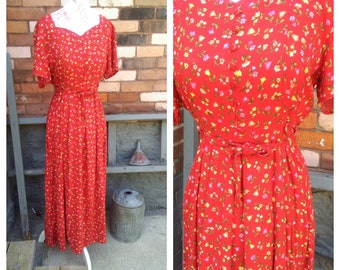 Vintage Red Floral Dress / Retro Floral Maxi Dress / Garden Party Pin Up Dress
