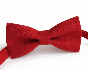 Red color,  linen bow tie, wedding necktie, linen necktie,  groomsmen necktie,  neckt, bow tie for men