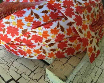 "3 yards 7/8"" Fall Autumn Leaves leaf grosgrain ribbon"