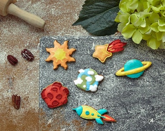 Space Cookie Cutter Set | Rocket, Asteroid, Sun, Star, Earth, Saturn Cutters for Cookies and Fondant | Science Cookie Cutter Set
