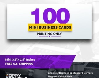 """100 Mini Business Cards 3.5"""" x 1.5"""" , Mini Business Cards Printing Rounded Corners, Matte or Glossy"""