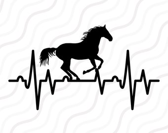 Horse Heartbeat SVG, Horse SVG, Heartbeat SVG Cut table Design,svg,dxf,png Use With Silhouette Studio & Cricut_Instant