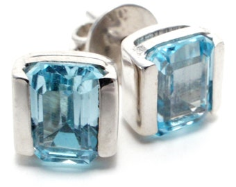 Blue Topaz Gemstone Stud Earrings, Set in Sterling Silver, December Birthstone, Gift Boxed