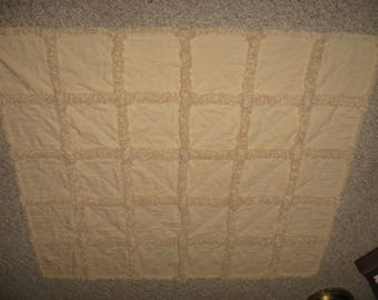 "Neutral Homespun Rag Quilt Lap Throw 39"" w X 45"" L"
