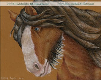 Wild Clydesdale Horse Original Drawing