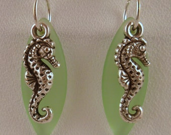Green Seahorse Sea Glass Earrings