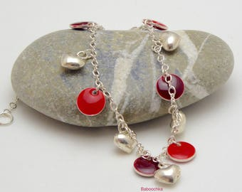 "Silver plated bracelet ""Bini"" duo of red and Silver 925 hearts"