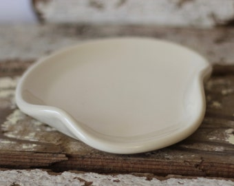 White Ceramic Spoon Rest | Made to Order