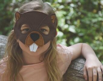 Handmade felt beaver mask, tail