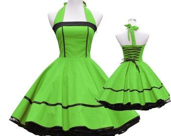50's vintage dress full skirt apple green black classic design custom made