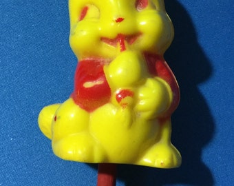 Vintage Yellow Easter Bunny Hard Plastic Irwin Baby Rattle 1950 Era
