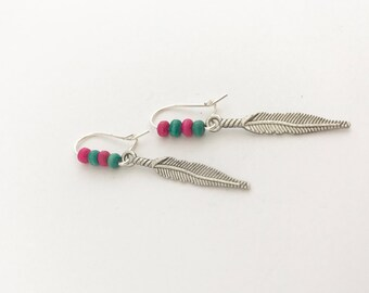 Handmade Pink Blue Feather Bead Silver Coated Dangle Earrings