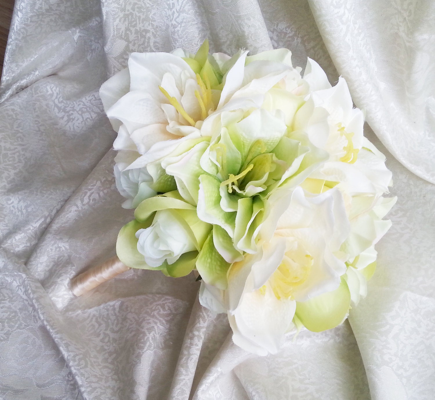 Green silk flowers wedding bouquet greenery lime green cream roses green silk flowers wedding bouquet greenery lime green cream roses lily satin ribbon bridal bridesmaids cheap izmirmasajfo