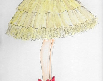 Gold Tulle Skirt Fashion Illustration-WatercolorTulle Skirt and Pink Bow Shoes- Girls Fashion Bedroom Print