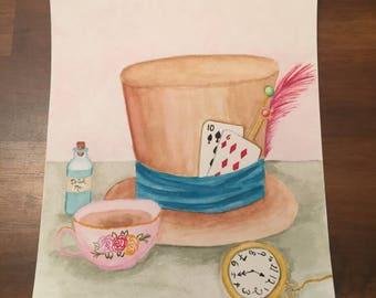 Items of Wonderland Original 8x10 Watercolor Painting
