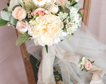Silk flower bouquet etsy bridal bouquet artificial bouquet silk flower bouquet peony bouquet pink white bouquet with groom s boutonniere no48fb001 mightylinksfo