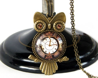 Steampunk Owl Necklace, Owl Necklace, Owl Jewelry, Bronze Necklace, Clock Necklace, Pendant, Swarovski, Brown, Glass Tile, Owl Gift