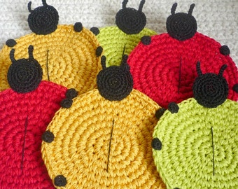 Ladybug Coasters - Crochet Coasters - Animal Coasters -Crochet Ladybug - Table Decor - Gift for Mom - Housewarming Gift - Set of 6