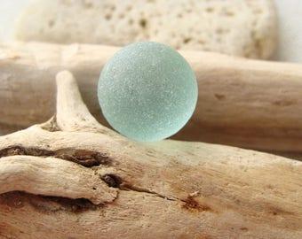Aqua Genuine Beach Glass Marble - Sea Glass Marble - Seaglass Sicily Beach Find - Jewelry Craft Supply