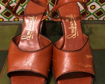 Vintage 1970s Imperial Leather Wedge Sandal Summer Wedge Boho Shoe Caramel Brown Leather and Vinyl Sandal Hippie Festival Retro