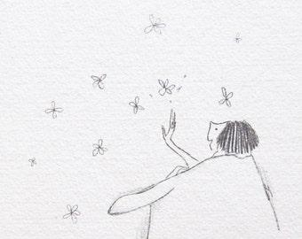 childlike wonder drawing art, pencil illustration, whimsical, naive drawing, appreciation, gratitude, beauty, nature, inner child, ORIGINAL