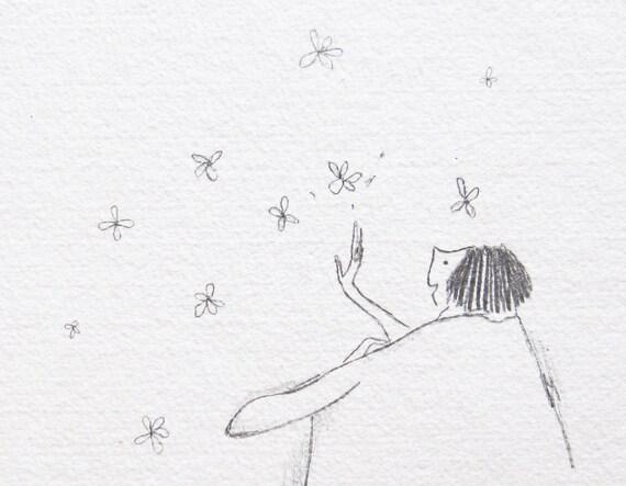 Flower Child Line Drawing : Childlike wonder drawing art pencil illustration whimsical