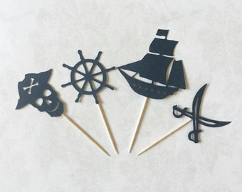 Pirate Theme Toppers, Set of 12 - Pirate Toppers, Pirate Theme, Birthday Party, Boy Birthday Toppers