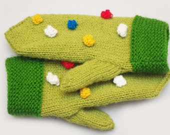 Good mood mittens, green mittens with colorful dots, teens knit mitts, womens wool mittens, winter gloves, women knit mittens, winter wear