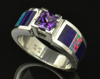 Lab Created Opal Wedding or Engagement Ring with Amethyst and Sugilite