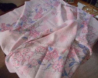 "1950's Vintage Pastel Floral Print Tablecloth 60 x 62""- Perfect"