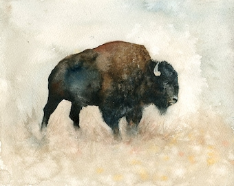 Bison, Painting, Original Watercolor painting 10x8inch