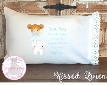 Personalized Tooth Fairy White Toddler Travel Pillowcase Soft 100% Cotton Flour Sack Fabric Eyelet Lace Ruffles Girl Tooth Fairy Pillow