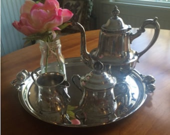 Sheffield Tea Set Tea/ Coffee Pot and Creamer and Pitcher