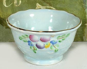 Vintage Crown Devon Open Sugar Bowl - Robins Egg Blue, Basket Weave, Handpainted Fruit and Flowers