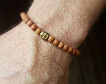 Celebrity Mens 6mm Buddha Sandalwood Bead Bracelet