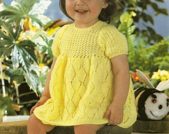 "PDF Knitting Pattern Baby Dress Lace Knit Snuggly DK 18-20"" Instant Download"