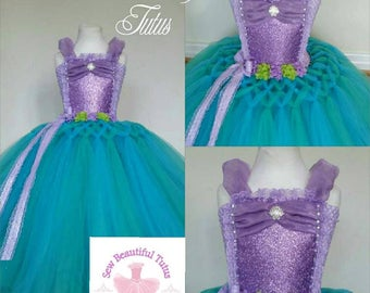 Mermaid inspired tulle ballgown - photo shoot - birthday - party dress - special occasion - ariel