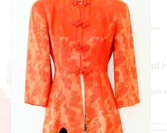 Vintage 1940's Ollie Lind Honolulu Silk Brocade Peplum Jacket l S