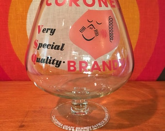 Vintage Coronet Brandy Oversized Brandy Snifter Glass, Paul Rand Design, Very Special Quality Brandy, 1950's Barware, Tip Jar, Mid Century