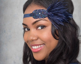 Mini Deco Flapper Headband With Beaded Applique Midnight Blue Navy Sapphire Or Gunmetal Black